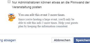 Facebook warnt vor zu häufigem Editieren der Veranstaltung