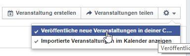 Automatische Posten der Veranstaltung auf Facebook verhindern