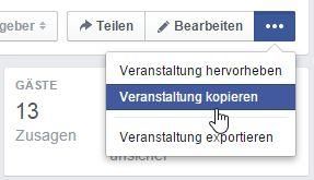 Veranstaltungen kopieren für wiederkehrende Facebookevents