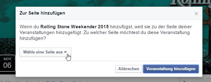 Facebookseite auswählen auf der die Veranstaltung angezeigt werden soll