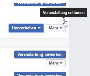 Hinzugefügte Veranstaltung einer anderen Facebookseite wieder entfernen