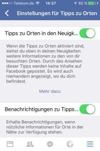 Aktivieren der Tipps zu Orten – Funktion in der Facebook-App