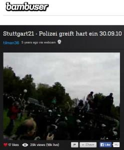 Livestream zu Stuttgart 21 bei Bambuser
